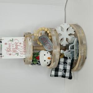 7 pc Tiered Tray Christmas Holiday Decor